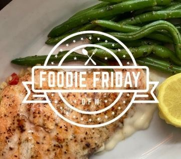 Foodie Friday logo and grilled salmon dish